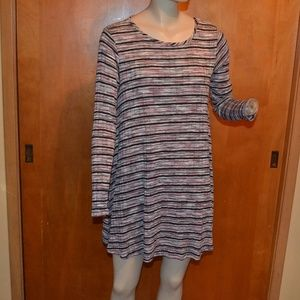 Love Fire Striped Pink Black Knit Dress Size S